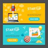 Horisontaluppsättning för Startup baner vektor Arkivbild