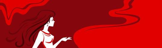 Horisontalvektorbakgrund med kvinnan stock illustrationer