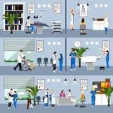 Horisontalvektorbaner med doktorer och sjukhusinre stetoskop för pengar för begreppsliesmedicin set Patienter som passerar upp de Fotografering för Bildbyråer