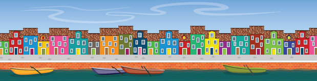 Horisontalvektorbaner med flodkanalen, fartyg, pir och qua Vektor Illustrationer