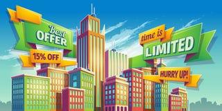 Horisontalvektortecknad filmillustration, baner, stads- bakgrund med stadslandskap vektor illustrationer