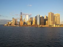 Horisonten av Lower Manhattan Arkivfoto