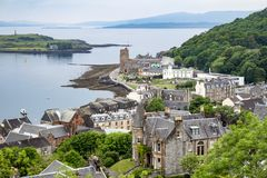Horisonten av Oban, Argyll i Skottland Royaltyfria Bilder