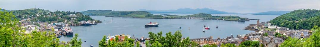 Horisonten av Oban, Argyll i Skottland Arkivfoton