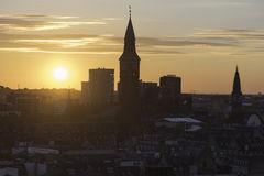 Horisontkontur av Köpenhamnen på solnedgången Arkivbilder