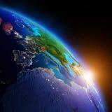 horisontlinjen för jord 3d framförde avstånd Arkivbilder