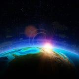 horisontlinjen för jord 3d framförde avstånd Fotografering för Bildbyråer