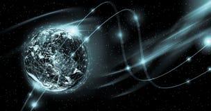 horisontlinjen för jord 3d framförde avstånd globala internet för bäst affärsidé Beståndsdelar av denna avbildar möblerat av NASA Royaltyfri Fotografi