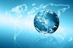 horisontlinjen för jord 3d framförde avstånd serie för internet för hand för bäst jordklot för affärsidébegrepp globalt glödande  Arkivfoton