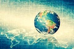 horisontlinjen för jord 3d framförde avstånd serie för internet för hand för bäst jordklot för affärsidébegrepp globalt glödande  Arkivbilder