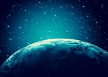 horisontlinjen för jord 3d framförde avstånd serie för internet för hand för bäst jordklot för affärsidébegrepp globalt glödande  Royaltyfri Bild