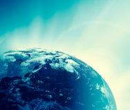horisontlinjen för jord 3d framförde avstånd serie för internet för hand för bäst jordklot för affärsidébegrepp globalt glödande  Fotografering för Bildbyråer