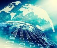 horisontlinjen för jord 3d framförde avstånd serie för internet för hand för bäst jordklot för affärsidébegrepp globalt glödande  Royaltyfri Fotografi