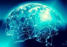 horisontlinjen för jord 3d framförde avstånd serie för internet för hand för bäst jordklot för affärsidébegrepp globalt glödande  Arkivfoto