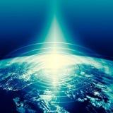 horisontlinjen för jord 3d framförde avstånd serie för internet för hand för bäst jordklot för affärsidébegrepp globalt glödande  Royaltyfri Foto