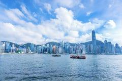 Horisontpanorama Victoria Harbor av Hong Kong Fotografering för Bildbyråer