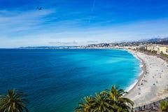 Horisontpromenad av Nice, Frankrike Fotografering för Bildbyråer