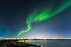 Horiziontal composition of aurora borealis Stock Photo
