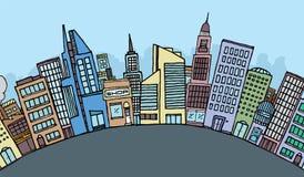 Horizon énorme de ville de bande dessinée Illustration de Vecteur