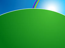Horizon. Illustration of a green meadow with sun and a rainbow at the horizon Royalty Free Stock Images