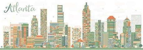 Horizon abstrait d'Atlanta avec des bâtiments de couleur illustration stock