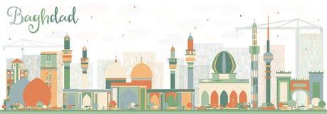 Horizon abstrait de Bagdad avec des bâtiments de couleur illustration stock