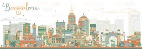 Horizon abstrait de Bangalore avec des bâtiments de couleur illustration de vecteur