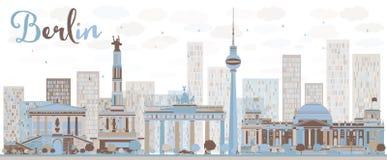 Horizon abstrait de Berlin avec le bâtiment de couleur illustration de vecteur