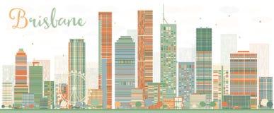 Horizon abstrait de Brisbane avec des bâtiments de couleur illustration de vecteur