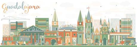 Horizon abstrait de Guadalajara avec des bâtiments de couleur Photos libres de droits