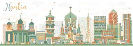 Horizon abstrait de Harbin avec des bâtiments de couleur illustration de vecteur