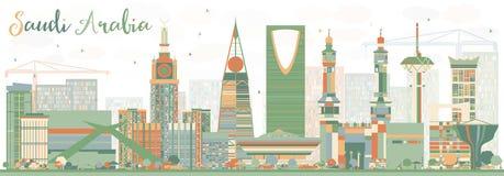 Horizon abstrait de l'Arabie Saoudite avec des points de repère de couleur illustration de vecteur