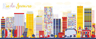 Horizon abstrait de Rio de Janeiro avec des bâtiments de couleur illustration stock
