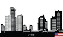 Horizon américain de ville de Detroit illustration libre de droits
