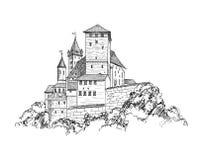 Horizon antique de croquis de bâtiment de tour de gravure de paysage de château Illustration Stock