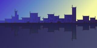 Horizon architectural de ville d'abrégé sur silhouette de croquis Photographie stock
