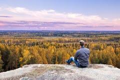 Horizon au-dessus des bois Photos libres de droits