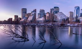 Horizon au lever de soleil, Calgary, Alberta photographie stock