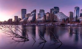 Horizon au lever de soleil, Calgary, Alberta image libre de droits