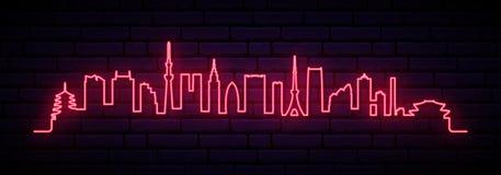 Horizon au néon rouge de ville de Tokyo illustration de vecteur