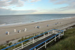 Horizon. The Baltic Sea beach. Beautiful blue sky emphasizes infinity and deserted beaches stock image