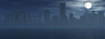Horizon bij nacht Stock Afbeelding