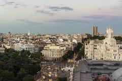 Horizon bij schemer, Madrid, Spanje stock afbeelding