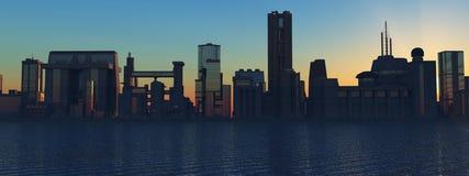 Horizon bij zonsondergang Stock Foto's