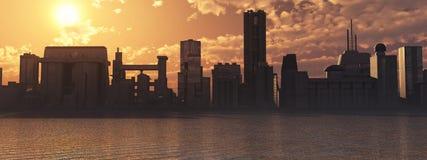 Horizon bij zonsondergang Stock Foto