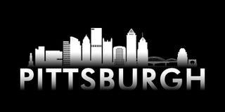 Horizon blanc de ville de Pittsburgh sur le fond noir illustration stock