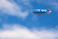 Horizon Blimp. The Horizon Blue Cross Blue Shield of New Jersey airship. This 132-foot, white ,blue and pink blimp is one of only about 10 airships operating in stock photo
