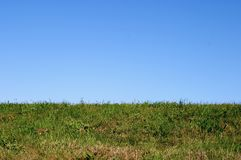Horizon and the blue sky. Horizon, green grass and the blue sky Stock Image