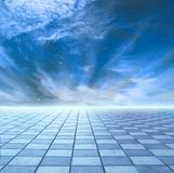 Horizon of blue sky and blue tile Royalty Free Stock Images