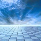 Horizon of blue sky and blue tile. Floor royalty free illustration